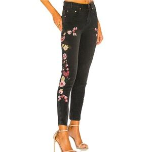 One Teaspoon Floral Embroidered Skinny Jeans